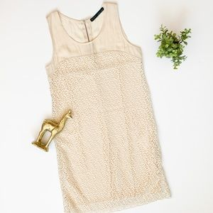 Zara Basic leaf embroidered sleeveless shift dress